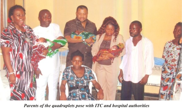 Parents of quadruplets pose with ITC and hospitals authorities