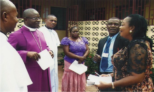 Dr B.C. Ajuonuma 2nd from right, Head of Clinical services F.M.C Owerri, receiving Bishop Maduwike and his entourage during a hospital visitation by the Bishop while Mrs Patience Nwankwo 1st from right watches.