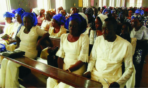 The Okoromas at the funeral service.