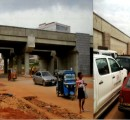 Free movement of vehicles and goods as Owelle opens the road.  Traffic gridlock before the opening  of the road by the governor