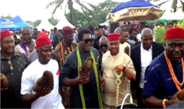 Deputy Governor of Imo State, Prince Eze Madumere, with some prominent Imo sons  'returning  from the barn' as Mbaise  tradition demands during the 2016 Iri-ji Mbaise