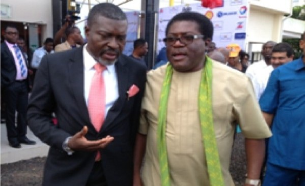 Imo Deputy Governor, Prince Eze Madumere, being welcomed by Kanayo  O. Kanayo during the official opening of King's Dine Restaurant and Lounge along Port-Harcourt Road, Owerri, Imo State recently.