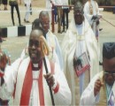 Bishop Cyril C. Okorocha (centre) and some  priests arrive at the Synod.