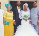 Nnadozie Martins Ebe and wife, Chioma, pose with Sir and Lady Martin Ebe (groom's parents),  Barr Chudi Onuzo and Sir Onyema Opara after their wedding at St. Andrew's Church, Owerri