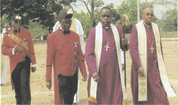 Rt. Rev. Cyril C. Okorocha, PhD, with Bishop Alex Ibezim of Awka Diocese, Sir Gab Oduah and others during the trouping of colours ceremony of Knights of St. Christopher in CATOL Owerri recently.