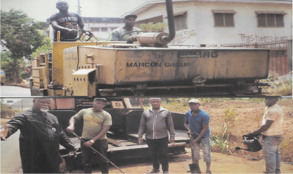 Imo State Government under Governor Rochas Okorocha has made good its promise to asphalt the Nkwor-Orji Obazu Orie-Mbieri Road and the  people are happy and grateful.  Photo shows the construction workers being supervised by the Special Adviser to the Deputy Governor , Hon.  Uche Mbah, while (above) is the steam roller compressing the asphalt.