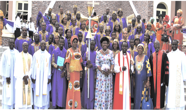 Bishop Cyril C. Okorocha PhD and his wife, Dr. (Mrs) Eunice Okorocha, with Clergymen, some  Diocesan and CATOL officers, as well as the  choir after the dedication thanksgiving last Sunday