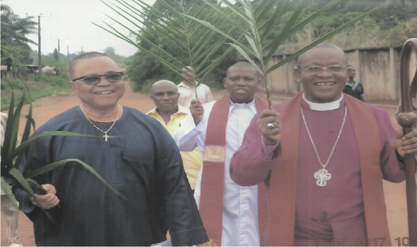 Bishop E.C. Maduwike with Sir Emma Ezeji during the Bishop's episcopal visit to  St. Andrew's Church Inyish Central Archdeaconry Ikeduru Diocese recently.